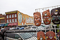 Masks are seen on a stall of the Detroit Eastern Farmers market  in Detroit (Mi) Saturday June 8, 2013. The largest open-air flowerbed market in the United States, the Eastern Market is a historic commercial district in Detroit, Michigan.