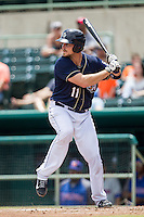 San Antonio Missions catcher Griff Erickson (11) at bat during the Texas League baseball game against the Midland RockHounds on June 28, 2015 at Nelson Wolff Stadium in San Antonio, Texas. The Missions defeated the RockHounds 7-2. (Andrew Woolley/Four Seam Images)