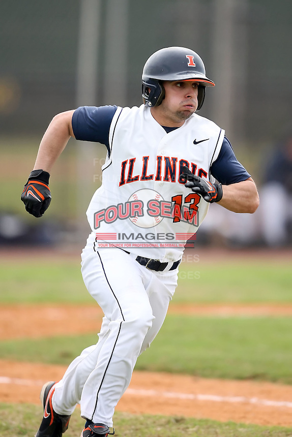 February 22, 2009:  Infielder Joe Bonadonna (13) of the University of Illinois during the Big East-Big Ten Challenge at Naimoli Complex in St. Petersburg, FL.  Photo by:  Mike Janes/Four Seam Images