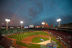 October 22, 2013, Boston, MA: <br /> A rainbow forms over Fenway Park during a team workout before game one of the 2013 World Series between the Boston Red Sox and the St. Louis Cardinals.<br /> (Photo by Billie Weiss/Boston Red Sox)