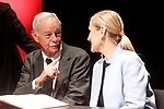 Spanish writer Eduardo Mendoza (l) and the President of Madrid Community Cristina Cifuentes during the 21st continuous reading of El Quijote. April 21,2017. (ALTERPHOTOS/Acero)