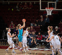 STANFORD, CA - December 4, 2016: Brittany McPhee at Maples Pavilion. Stanford defeated UC Davis, 68-42. The Cardinal wore turquoise uniforms to honor Native American Heritage Month