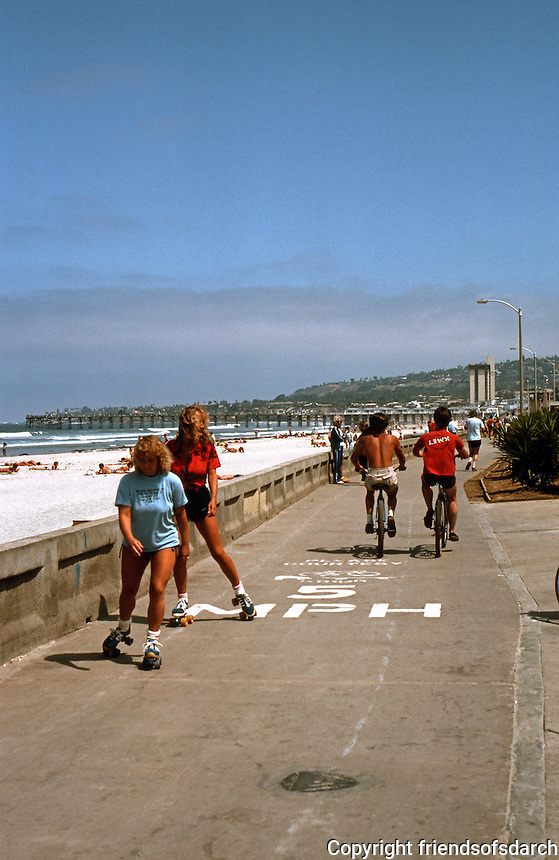 San Diego: Traffic on Ocean Front Walk, South Pacific Beach.  (Photo 1982)