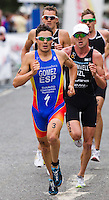 25 JUL 2010 - LONDON, GBR - Javier Gomez leads a group at the start of the first lap on the run of the mens race during the London round of the ITU World Championship Series triathlon .(PHOTO (C) NIGEL FARROW)