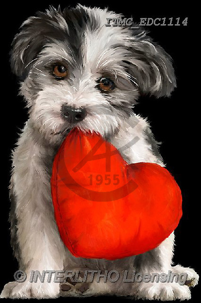 Marcello, VALENTINE, VALENTIN, paintings+++++,ITMCEDC1114,#V#, EVERYDAY ,dogs,heart