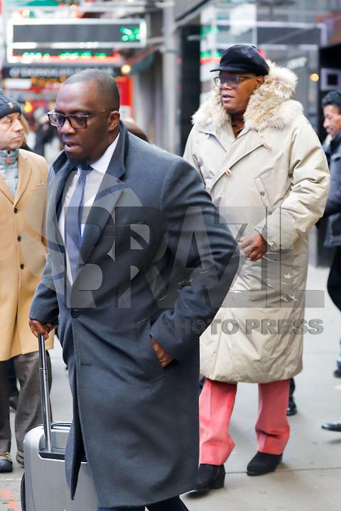 NOVA YORK, EUA, 15.01.2019 - CELEBRIDADES-EUA - O ator norte-americano Samuel L. Jackson é visto na região da Times Square em Nova York nos Estados Unidos nesta terça-feira, 15. (Foto: Vanessa Carvalho/Brazil Photo Press)