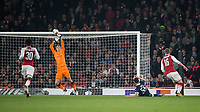 Goalkeeper Matt Macey of Arsenal produces a save to deny Slavoljub Srnic (55) of Crvena Zvezda (Red Star Belgrade) during the UEFA Europa League group stage match between Arsenal and FC Red Star Belgrade at the Emirates Stadium, London, England on 2 November 2017. Photo by Andy Rowland.