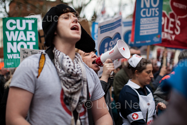 London, 04/03/2017. Today, hundreds of thousands activists (estimated 250,000 people for the organisers), doctors, nurses and members of the public marched from Tavistock Square (British Medical Association HQ) to Parliament Square. The demonstration, organised by Health Campaigns Together &amp; The People's Assembly, was called to protest against the National Health Service (NHS) crisis (and alleged privatization plan) which recently led the Red Cross to declare a humanitarian crisis in the British NHS and were forced to intervene. From the organisers Facebook event page: &lt;&lt;[&hellip;] We must fight to save the NHS from destruction. The threat is real. It is happening now. Hospitals, GPs, mental health, ambulance and community services are on their knees. Private companies are gaining an ever greater foothold within the NHS. Years of pay restraint has seen the value of NHS staff salaries reduce by 14% since 2010. The Government's Sustainability and Transformation Plans are a smokescreen for a massive programme of hospital and community service closures, and are its latest instrument for privatisation. The NHS is one of our greatest achievements. We cannot allow it to be undermined and ultimately destroyed. [&hellip;] &quot;the NHS will last as long as there are folk with the faith to fight for it.&quot; Nye Bevan - founder of the NHS [&hellip;]&gt;&gt;.<br /> <br /> For more information please click here: https://www.facebook.com/events/1771664639725061/