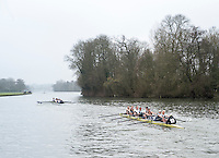 Henley. United Kingdom.  General View, as a crew approach, Temple Island, Henley Fours &amp; Eights Henley Head,  Henley Reach, River Thames. H-O-T, England.<br /> <br /> Saturday  18/02/2017<br /> <br /> [Mandatory Credit. Peter SPURRIER/Intersport Images]