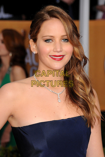 Jennifer Lawrence (wearing Christian Dior).Arrivals at the 19th Annual Screen Actors Guild Awards at the Shrine Auditorium in Los Angeles, California, USA..27th January 2013.SAG SAGs headshot portrait strapless blue navy red lipstick diamond necklace .CAP/ADM/BP.©Byron Purvis/AdMedia/Capital Pictures
