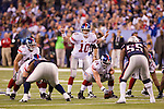 New York Giants quarterback Eli Manning (10) calls an audible at the line of scrimmage during the NFL Super Bowl XLVI football game against the New England Patriots on Sunday, Feb. 5, 2012, in Indianapolis. The Giants won 21-17 (AP Photo/David Stluka)...