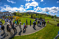 Fans follow Nick Voke's group on day two of the 2017 Asia-Pacific Amateur Championship day one at Royal Wellington Golf Club in Wellington, New Zealand on Friday, 27 October 2017. Photo: Dave Lintott / lintottphoto.co.nz