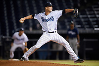 Tampa Tarpons relief pitcher Hobie Harris (23) delivers a pitch during the second game of a doubleheader against the Lakeland Flying Tigers on May 31, 2018 at George M. Steinbrenner Field in Tampa, Florida.  Lakeland defeated Tampa 3-2.  (Mike Janes/Four Seam Images)