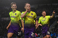 Jake Taylor of Exeter City middle celebrates scoring the first goal  during Portsmouth vs Exeter City, Leasing.com Trophy Football at Fratton Park on 18th February 2020
