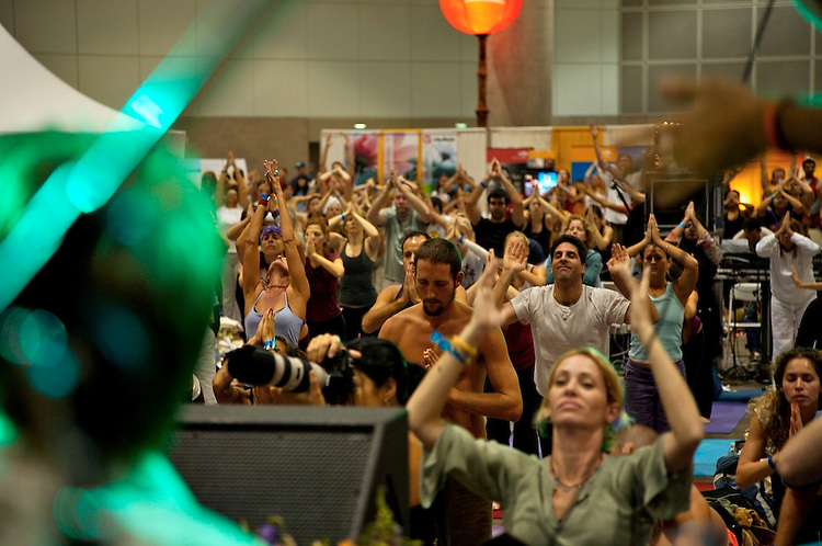 Global Mala Project (GMP) event.  108 Sun Salutations (Surya Namaskars).  Audience doing the 108 Sun Salutations.