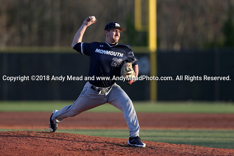 CARY, NC - FEBRUARY 23: Monmouth's John Martin. The Monmouth University Hawks played the Saint John's University Red Storm on February 23, 2018 on Field 2 at the USA Baseball National Training Complex in Cary, NC in a Division I College Baseball game. St John's won the game 3-0.