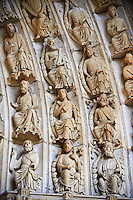 "North Porch, Central Portal, Right Archivolts c. 1194-1230. Cathedral of Chartres, France. The Jesse Tree shows the genealogy of Christ, based on the words of Isaiah's prophecy (Isaiah 11:1 "" And there shall come forth a rod out of the root of Jesse, and a flower shall rise up out of his root."") The Innermost archivolt contains angels. The second and fifth archivolts from the centre contains Old Testament prophets, many nimbed and holding scrolls. The third and fourth archivolts contain seated figures of the royal ancestors of Christ, surrounded by foliage of the Jesse Tree. A UNESCO World Heritage Site. ."