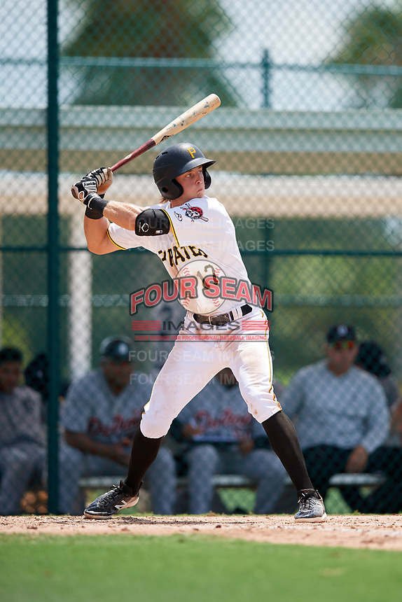GCL Pirates first baseman Nick Patten (17) at bat during a game against the GCL Tigers West on August 13, 2018 at Pirate City Complex in Bradenton, Florida.  GCL Tigers West defeated GCL Pirates 5-1.  (Mike Janes/Four Seam Images)