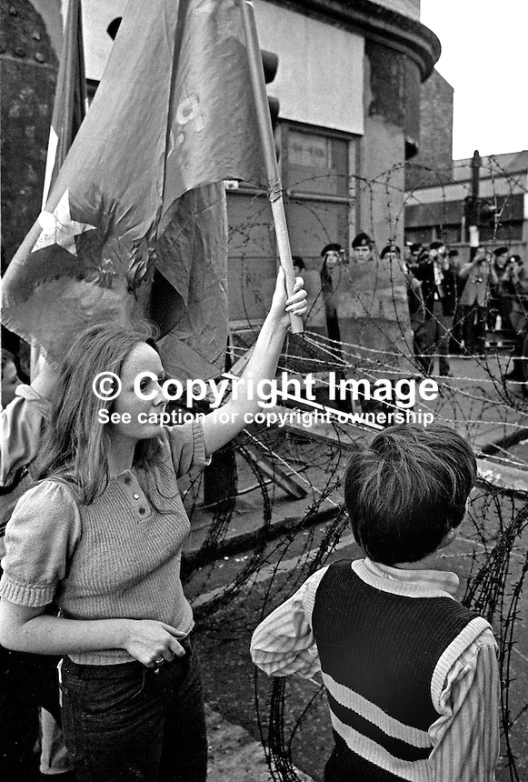People's Democracy supporters are halted by soldiers and police from entering the city centre in Belfast, N Ireland. The march was in support of PD leaders Michael Farrell and Tony Canavan who were on hunger strike seeking political status in Belfast's Crumlin Road Jail. 29 July 1973, 197307290522g.<br />