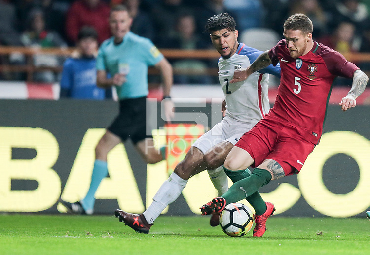 Leiria, Portugal - Tuesday November 14, 2017: DeAndre Yedlin, Vitorino Antunes during an International friendly match between the United States (USA) and Portugal (POR) at Estádio Dr. Magalhães Pessoa.