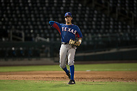 AZL Rangers third baseman Jonathan Ornelas (10) warms up between innings of an Arizona League game against the AZL Cubs 2 at Sloan Park on July 7, 2018 in Mesa, Arizona. AZL Rangers defeated AZL Cubs 2 11-2. (Zachary Lucy/Four Seam Images)
