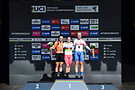 Shirin van Anrooij of The Netherlands silver, Aigul Gareeva of Russia gold and Elynor Backstedt of Great Britain bronze on the podium at the end of the Women Junior Individual Time Trial of the UCI World Championships 2019 running 13.7km from Harrogate to Harrogate, England. 23rd September 2019.<br /> Picture: Alex Broadway/SWPix.com | Cyclefile<br /> <br /> All photos usage must carry mandatory copyright credit (© Cyclefile | Alex Broadway/SWPix.com)