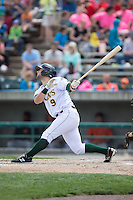 Joe Sever (9) of the Lynchburg Hillcats follows through on his swing against the Frederick Keys at Calvin Falwell Field at Lynchburg City Stadium on May 14, 2015 in Lynchburg, Virginia.  The Hillcats defeated the Keys 6-3.  (Brian Westerholt/Four Seam Images)