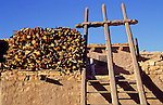 Ladder and wood pile adorn the roof of a dwelling on Sky City, Acoma Pueblo, New Mexico