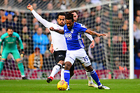 Jacques Maghoma of Birmingham battles with Tom Huddlestone of Derby during the Sky Bet Championship match between Birmingham City and Derby County at St Andrews, Birmingham, England on 13 January 2018. Photo by Bradley Collyer / PRiME Media Images.