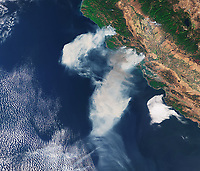 Copernicus Sentinel-3A satellite photo of the California wildfires, October 9, 2017.  <br />