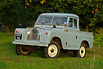 Historic 1963 Landrover Series 2a truckcab in very original and full working condition on a farm in Dunsfold, UK 2004. --- RELEASES AVAILABLE FOR CERTAIN USES. Automotive trademarks are the property of the trademark holder, authorization may be needed for some uses.