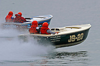 """JS-20, Jersey Speed Skiff (front) and JS-78 """"Flyin High"""", Jersey Speed Skiff..10-12 July, 2009, 100th Gold Cup, Detroit River, Detroit, MI USA..©2009 F.Peirce Williams, USA."""