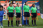 WASHINGTON, DC - MARCH 07: Match officials. From left: Assistant Referee Lidia Ayala (SLV), Referee Michelle Pye (CAN), Fourth Official Sheena Dickenson (CAN), and Assistant Referee Emperatriz Ayala (SLV). The England Women's National Team played the Germany Women's National Team as part of the SheBelieves Cup on March 7, 2017, at RFK Stadium in Washington, DC. Germany won the game 1-0.