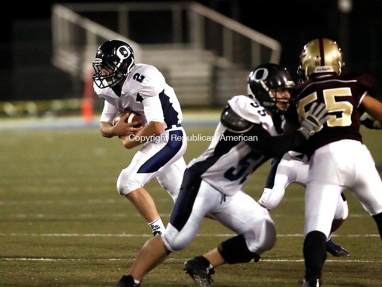 Waterbury, CT- 30 October 2014-103014CM09- Oxford's Joseph Romagna  carries the ball during their matchup against Sacred Heart/Kaynor in Waterbury on Thursday.   Christopher Massa Republican-American