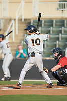 Adam Hall (10) of the Delmarva Shorebirds at bat against the Kannapolis Intimidators at Kannapolis Intimidators Stadium on June 4, 2019 in Kannapolis, North Carolina. The Intimidators defeated the Shorebirds 9-0. (Brian Westerholt/Four Seam Images)