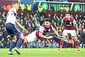 12th September 2017, Villa Park, Birmingham, England; EFL Championship football, Aston Villa versus Middlesbrough; Scott Hogan of Aston Villa tries to get his header on target