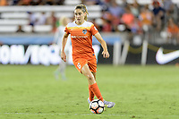 Houston, TX - Wednesday June 28, 2017: Morgan Brian brings the ball up the field during a regular season National Women's Soccer League (NWSL) match between the Houston Dash and the Boston Breakers at BBVA Compass Stadium.
