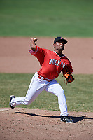 Batavia Muckdogs relief pitcher Elkin Alcala (28) delivers a pitch during a game against the State College Spikes on July 8, 2018 at Dwyer Stadium in Batavia, New York.  Batavia defeated State College 8-3.  (Mike Janes/Four Seam Images)