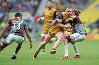Will Hurrell of Bristol Rugby is tackled by Luke Wallace of Harlequins during the Aviva Premiership Rugby match between Harlequins and Bristol Rugby at Twickenham Stadium on Saturday 03 September 2016 (Photo by Rob Munro/Stewart Communications)