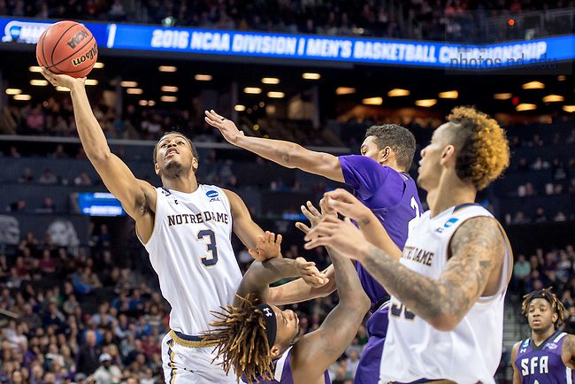 Mar. 20, 2016; Notre Dame defeated Stephen F. Austin 76-75 in the second round game of the NCAA Tournament. (Photo by Matt Cashore/University of Notre Dame)