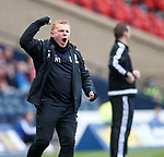 Neil Lennon celebrates as Hibs pull a goal back