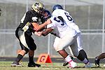 Palos Verdes, CA 10/20/11 - Triston Martinez (Peninsula #70) in action during the Leuzinger vs Peninsula JV football game.