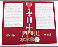 BNPS.co.uk (01202 558833)Pic: C&amp;TAuctions/BNPS<br /> <br /> Lieutenant James Riccomini MBE's medal group consists of an MBE engraved with 'J.A.R', a Military Cross, a 1939-45 star, an Africa star, an Italy star and a 1939-45 War medal.<br /> <br /> The remarkable story of an SAS hero who escaped captivity by jumping out of a moving train and carried out daring raids behind enemy lines before he was killed storming a German stronghold can be told after his bravery medals emerged for sale.<br /> <br /> After escaping his German captors, Lieutenant James Riccomini MBE spent four months assisting Italian resistance fighters with ammunition drops and intelligence gathering before scaling the Alps to reach neutral Switzerland when his cover was blown.<br /> <br /> Ten months later, he was dropped behind enemy lines and led a fearless ambush of a German armoured column before he was killed in action heading up an assault during the legendary Operation Tombola.<br /> <br /> His MBE, Military Cross and other medals along with letters he wrote to his wife, documents and photos are tipped to sell for &pound;12,000.