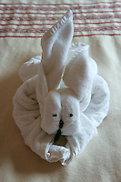 Rabbit towel origami in a guest room at the Hotel Hacienda Uxmal near the Mayan ruins of Uxmal, Yucatan, Mexico..        .