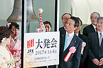 Taro Aso, Minister of Finance and Deputy Prime Minister, rings the bell during the New Year opening ceremony for the Tokyo Stock Exchange (TSE) on January 4, 2017, Tokyo Japan. The Nikkei Stock Index opened at 19,298.68, higher than the last trading day of 2016. (Photo by Rodrigo Reyes Marin/AFLO)