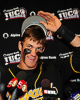 Jun. 1, 2010; Grand Junction, CO, USA; Southern Nevada Coyotes right fielder Bryce Harper speaks to the media following the game against Iowa Western C.C. during the Junior College World Series as Suplizio Field. Southern Nevada won the game 12-7. Mandatory Credit: Mark J. Rebilas-