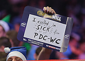 30.12.2015. Alexandra Palace, London, England. William Hill PDC World Darts Championship. Sick for the darts banner on display