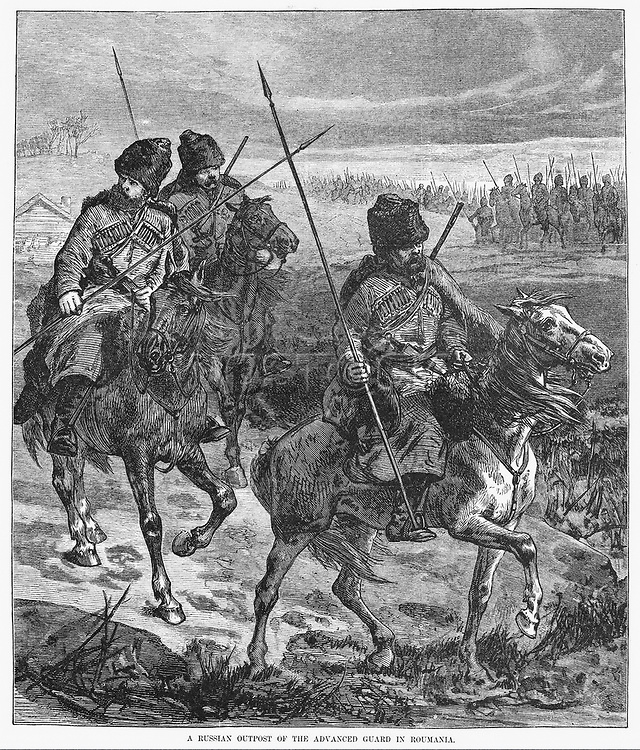 ROMANIA: INDEPENDENCE, 1877. /nOn the permission of Romanian authorities, Russian troops advance on horseback across Romanian territory to fight Turkey in April 1877, to be followed one month later by Romania's proclaiming its independence from the Ottoma