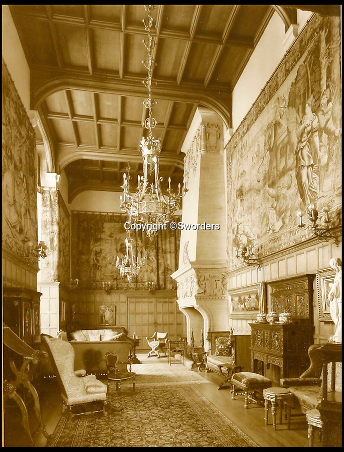 BNPS.co.uk (01202 558833)<br /> Pic: Sworders/BNPS<br /> <br /> The tapestries hanging in the great hall in the 1930's.<br /> <br /> The £1million contents of a majestic 16th century English country house including its eye-catching tapestries, paintings and antique furniture have emerged for sale.<br /> <br /> The jewel in the crown in the everything must go sale at North Mymms Park is a collection of 19 large European tapestries which are each valued at £20,000.<br /> <br /> The 12ft by 17ft tapestries were crafted in weaving workshops across northern Europe from the mid 16th to mid 18th century and have hung in the Grade I listed manor 'of exceptional interest' near Colney, Herts, for over 100 years. <br /> <br /> They were purchased by Anglo-American banker Walter Hayes Burns who acquired the estate in 1893 to accommodate his growing art collection and whose family owned it until 1979.