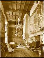 BNPS.co.uk (01202 558833)<br /> Pic: Sworders/BNPS<br /> <br /> The tapestries hanging in the great hall in the 1930's.<br /> <br /> The &pound;1million contents of a majestic 16th century English country house including its eye-catching tapestries, paintings and antique furniture have emerged for sale.<br /> <br /> The jewel in the crown in the everything must go sale at North Mymms Park is a collection of 19 large European tapestries which are each valued at &pound;20,000.<br /> <br /> The 12ft by 17ft tapestries were crafted in weaving workshops across northern Europe from the mid 16th to mid 18th century and have hung in the Grade I listed manor 'of exceptional interest' near Colney, Herts, for over 100 years. <br /> <br /> They were purchased by Anglo-American banker Walter Hayes Burns who acquired the estate in 1893 to accommodate his growing art collection and whose family owned it until 1979.